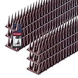 KADAX Vogelabwehr aus Kunststoff, 52 x 4,5 x 3,5 cm, Tierabwehr, 3-reihig, Spikes für Katze, Marder, Taube, Zaun, Fensterbank, Dach, Taubenabwehr, Vogelschutz, robust (6, Braun)
