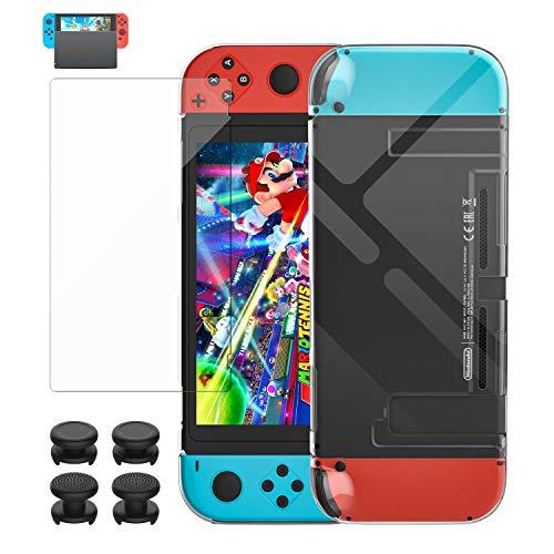 MoKo Coque de Protection+Protecteur d'Écran Compatible avec Nintendo Switch, Coque Transparent Couverture Protective Protecteur d'Écran en Verre Trempé avec Couvercle 4 Packs de Joystick - Transparant