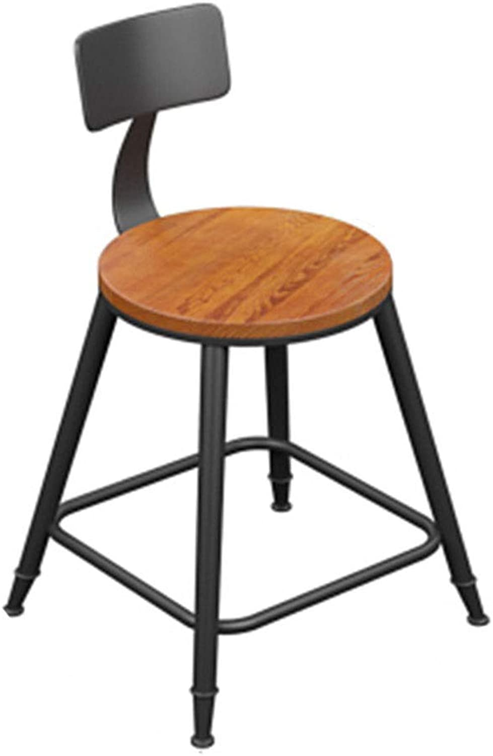 Bar Chair Simple High Chair Solid Wood Iron Art Table and Chair High Stool 2 colors 1 Size (color   B)