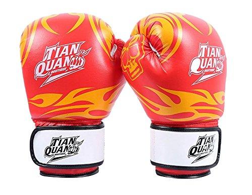 BLANCHO BEDDING 8 oz feu Totem Enfants de Boxe MMA Gants Punching Mitts de Formation pour Muay Thai Kickboxing, Rouge