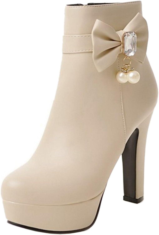 Smilice Women High Block Heel Ankle Booties Plus Size & Mini Size Platform Boots Pink