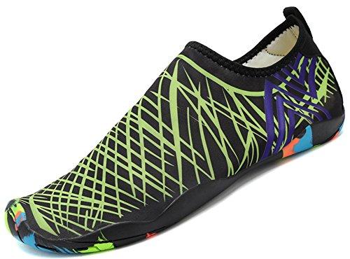 SAGUARO® Skin Shoes Descalzo acuático Aqua Calcetines para de Nadada de la Playa de la Resaca de la Yoga, Verde 4 45