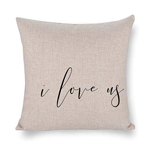 Blafitance Funda de almohada decorativa de lino con frase inspiradora, decoración rústica para el hogar, 30 x 30 cm