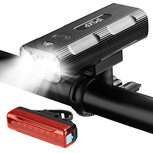 IPSXP Luci Bicicletta LED, Luce Bici Anteriore e Posteriore Ricaricabile USB Super Luminoso Luci Bicicletta Impermeabile IP65 con Clacson Luci Bici per Bici Strada e Montagna, Sicurezza per Notte