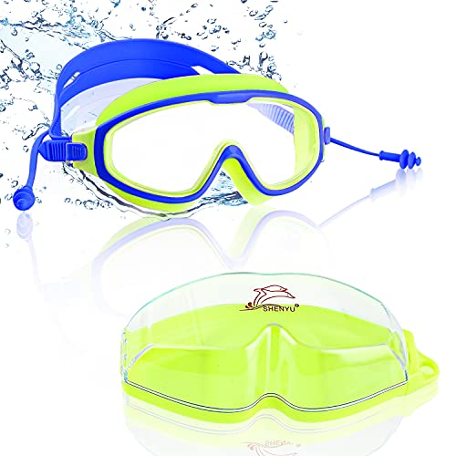 Gafas de Natación,Gafas de Natación de Marco Amplio,Antiniebla Gafas Natacion,Protección UV,Correa de Silicona Ajustable Gafas para Nadar,Gafas para Nadar, Unisex Niños,para Piscina Deportes Acuáticos