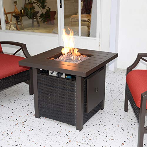 Kinger Home Propane Fire Pit Table 28 Inch, 50,000 BTU Rattan Wicker Gas Fire Pit Table for Outdoor Patio, Slide Out Tank Holder, with Glass Wind Guard, Lava Rocks, Cover, and Lid, Slate Grey