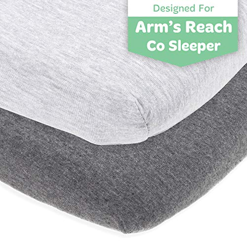 Cuddly Cubs Arms Reach Co Sleeper Sheets Fitted – 18 x 36 Cradle Sheets – Snuggly Soft Cotton – Fits Perfectly Without Bunching Up on Clear Vue, Cambria, Mini Ezee Bassinets – Heather Grey
