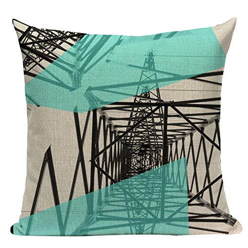 Almohada de Almohada de Estilo Simple Almohadas Decorativas geométricas para sofá Casas Casas Black White Woven Woven Funda de Almohada-T_2pc
