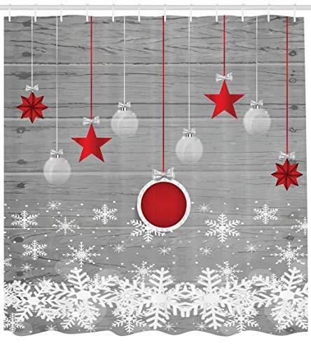 ABAKUHAUS Weihnachten Duschvorhang, Sterne-Flitter Schnee, Moderner Digitaldruck mit 12 Haken auf Stoff Wasser & Bakterie Resistent, 175 x 200 cm, Grau-Rot-weiß