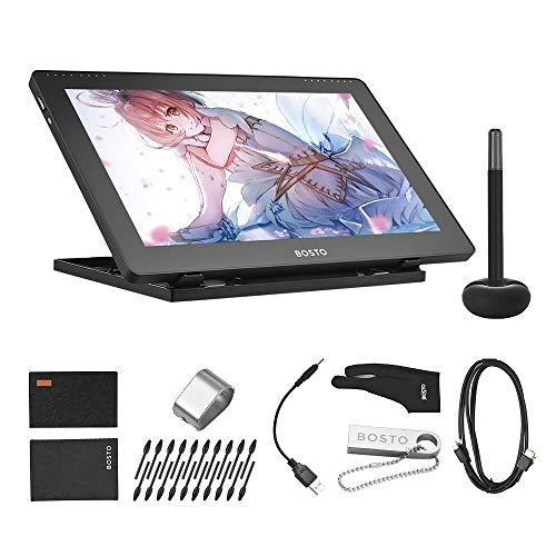 Aibecy BOSTO 16HDK Pantalla de tableta de dibujo de gráficos LCD H-IPS portátil de 15,6 pulgadas 8192 Nivel de presión Tecnología activa Tableta de dibujo de bajo consumo alimentada por USB