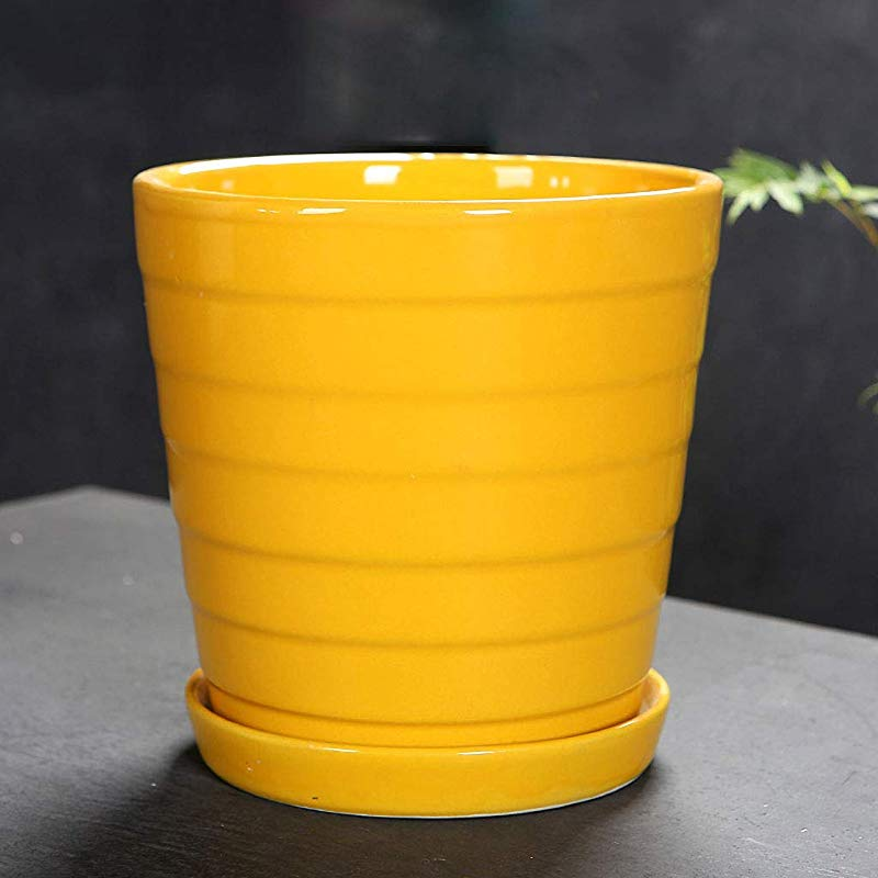 CKH Ceramic Flower Pot Simple Green Yellow Tabletop Breathable Flower Pot With Ceramic Tray