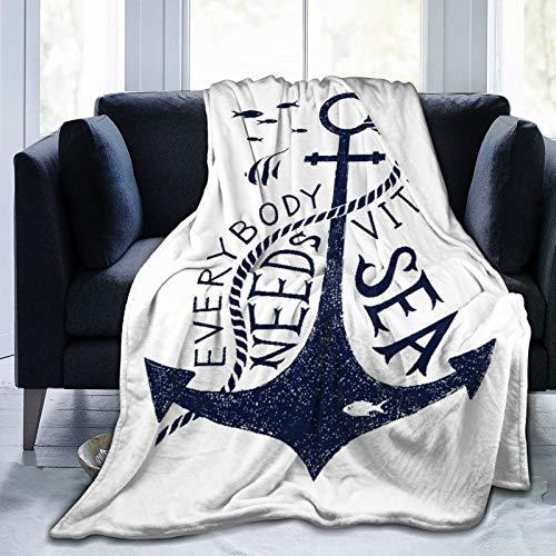 Minalo Throw Blanket Lightweight Soft Warm,HandDrawnEverybodyNeedsVitaminSeaQuoteMonochromeFishSilhouette,Microfiber All Season Living Room/Bedroom/Sofa Couch Bed Flannel Quilt,60' x 80'