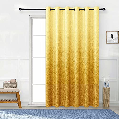 DWCN Ombre Blackout Patio Door Curtains - Damask Patterned Thermal Insulated Sliding Door Curtains - Extra Wide Grommet Drapes for Living Room Sliding Glass Door, 100 x 84 Inches, 1 Panel, Yellow