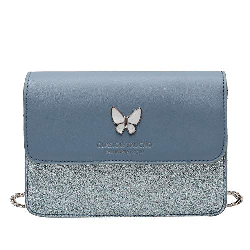 Fashion Sequin Splicing Messenger Bag Women PU Leather Chain Butterfly Female Small Square Shoulder Handbag