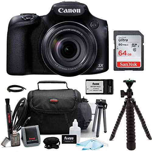 Canon PowerShot SX60 HS 65x Optical Zoom Digital Camera w/ 64GB SD Card Bundle