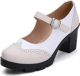 Women's Leather Classic Platform Mid Heel Mary Jane...