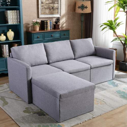 Pumpumly Sofá esquinero de 3 plazas, sofá de esquina izquierdo o derecho, sofá de tela en forma de L, con sofá otomano Morden para sala de estar, color gris oscuro