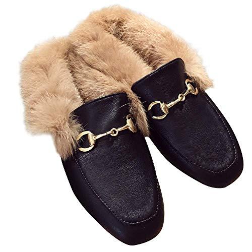[エアバイ] ファー付き ローファー サンダル 楽ちん 楽 ぺたんこ 靴 ペタンコ スリッパ 楽ちん あったか かわいい おしゃれ ルーム シューズ 冬 室内 おうち もこもこ スリッパ 履き あったか ボア ふわふわ フィット ソール レディース 安い
