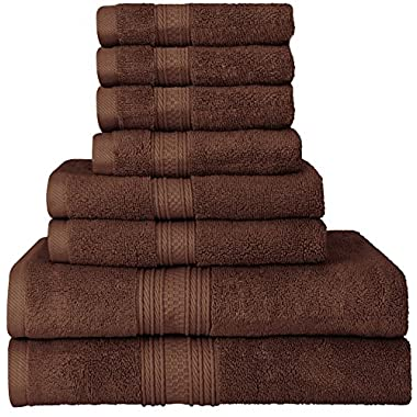 Utopia Towels Luxurious 700 GSM Thick 8 Piece Towel Set in Dark Brown; 2 Bath Towels, 2 Hand Towels and 4 Washcloths - 100% Ring-Spun Cotton, Hotel Quality for Maximum Softness and High Absorbency