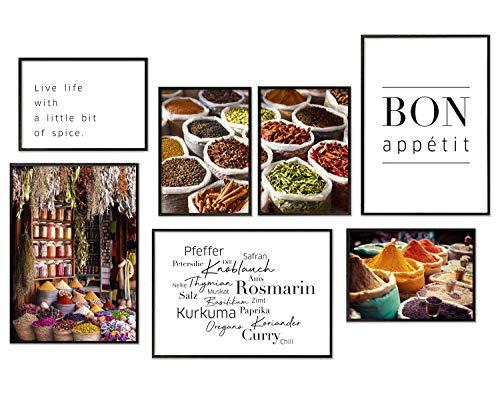 Hyggelig Home Premium Poster Set - 7 passende Bilder im stilvollen Set als Küchen Wand Deko - Collage Bild Küche Gewürze Markt Essen - 3 x DIN A3 + 4 x DIN A4 - Posterset Gewürze Ohne Bilderrahmen