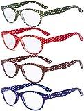 Eyekepper 4 Paia Occhiali da Lettura Le signore Puntini di Polka Occhio di Gatto Lettori di Design per Lettura delle Donna +1.50
