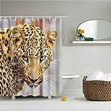shaojie Duschvorhang Löwe Tiger Duschvorhang Leopard Tiere Drucke Badezimmer Wasserdicht Polyester Stoff für Vorhänge Bad Fenster Home Dekoration