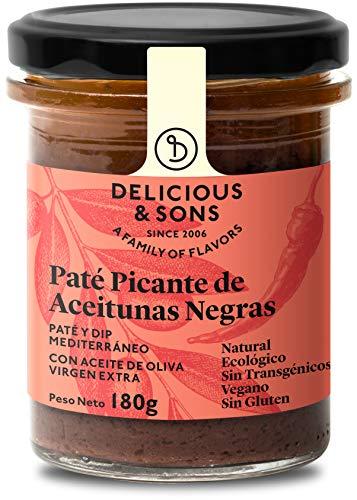 Delicious & Sons Paté Picante de Aceitunas - Ecológico - Sin Transgénicos - Sin Gluten - Vegano - Sin Azúcares Añadidos - Apto para dietas Paleo - 180g
