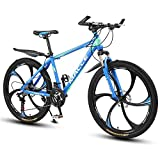 L&WB Bicicleta De Montaña De 26 Pulgadas, Adecuada Desde 165 Cm, Freno De Disco, Circuito De 27 Velocidades, Suspensión Completa, Bicicleta De Niño Y Bicicleta para Hombres,Azul