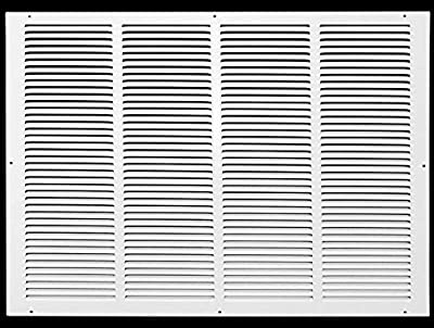 """24""""w X 18""""h Steel Return Air Grilles - Sidewall and Ceiling - HVAC Duct Cover - White [Outer Dimensions: 25.75""""w X 19.75""""h]"""