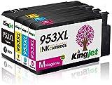 Kingjet Nuovo Chip 953XL Sostituzione per HP 953 953XL Cartucce d'inchiostro per HP OfficeJet Pro 8715 8710 8720 8730 8740 8210 8218 7720 7730 7740 8725 8728 8718 (Nero/Ciano/Magenta/Giallo)