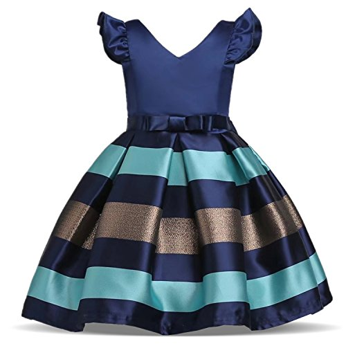 TTYAOVO Festzug Prinzessin Party Kleider Mädchen, die Brautjungfernkleider Größe (150) 7-8 Jahre blau