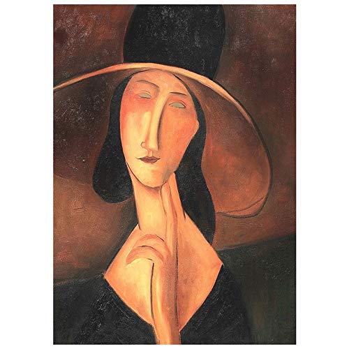 LegendArte Stampa su Tela - Ritratto di Jeanne Hébuterne con Cappello - Amedeo Modigliani cm. 50x70 - Quadro su Tela, Decorazione Parete