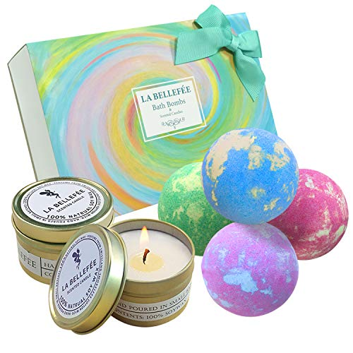 LA BELLEFÉE Bath Bombs and Scented Candles Gift Set...