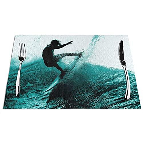 Mantel individual, tapetes tejidos de vinilo de PVC, manteles individuales antiadherentes de aislamiento térmico antideslizantes para surf de verano para cocina, comedor, restaurante, café (juego de 4