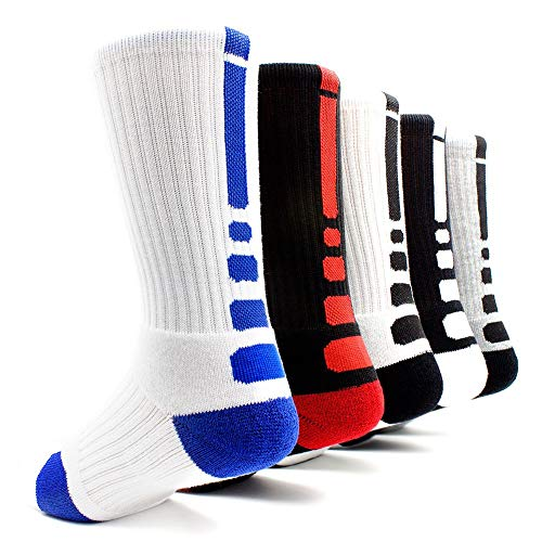 [5 Pairs]Men's Sports Socks Basketball Football Athletic Crew by JiYe, Assorted Colors, Shoe Size:Mens 6-10 Womens 7-11
