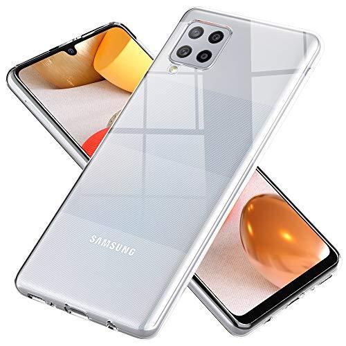 NALIA Klare Handyhülle kompatibel mit Samsung Galaxy A42 5G Hülle, Transparente Silikon Schutzhülle Clear Hülle Soft Phone Cover, Dünne Durchsichtige Handy-Tasche Ultra-Slim Bumper Etui - Transparent