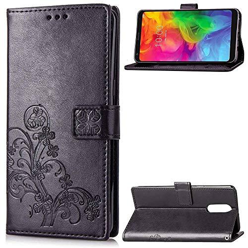 SATURCASE LG Q7 Hülle, Lucky Clover PU Lederhülle Magnetverschluss Flip Brieftasche Handy Tasche Schutzhülle Handyhülle Hülle mit Standfunktion & Kartenfächer für LG Q7/LG Q7 Plus/LG Q7α (Schwarz)