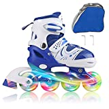 JIFAR Youth Children's Inline Skates for Kids, Adjustable Roller Blades with Light Up