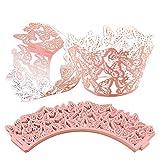 CattleyaHQ 25 pezzi di involucri per cupcake a farfalla, decorazioni per cupcake incavate,...