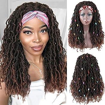 LEOSA New Faux Locs Crochet Headband Wig Synthetic Curly Dreadlock Wigs Brown Wavy Crochet Hair for Black Women,Soft Faux Locs Headband Wigs Curly Crochet Braids Wig Dreads Wig Faux Locs Wig