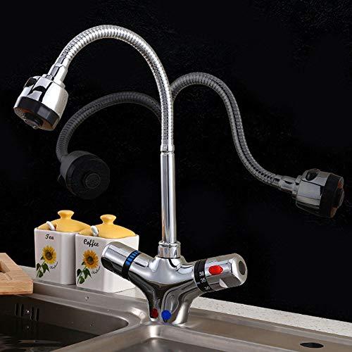 Grifo para fregadero de cocina universal Bibcock de latón, de seguridad, antiquemaduras, grifo termostático, ahorro de agua y salpicaduras (tamaño A: A)