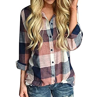 HGWXX7 Hot Sale Women Tops Long Sleeve Casual Plaid Loose Button T-Shirt Blouse