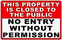 許可なく入国できない 金属板ブリキ看板警告サイン注意サイン表示パネル情報サイン金属安全サイン