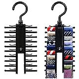 2 Piezas Perchas para Corbatas Soporte de Corbata Organizador de Cinturón Estantes de Corbatas Rotación de 360 Grados Organizador de Armario para 20 Corbata, Cinturón, Bufandas (Negro)