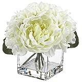 Flores falsas en jarrón de seda peonía Hortensias con agua sintética para decoración del hogar, boda, flores artificiales, peonías hortensias en macetas de cristal para centros de mesa - Blanco