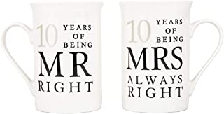 Ivory 10th Anniversary Mr Right & Mrs Always Right Ceramic Mugs Gift Set Thoughtful and Unique Gift Idea Dishwasher and Microwave Safe by Happy Homewares