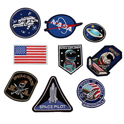 huixun espacio astronauta y bandera parches hierro bordado en parches para ropa DIY ropa pegatinas personalizados Badges 1Set