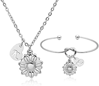 YOUCANDOIT2 Sunflower Garden Flowers Y Necklace Knotted Bangle Charm Bracelet Sets Gardener Jewelry Stainless Steel Heart ...