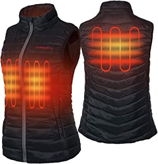 CONQUECO Women's Heated Vest Lightweight Slim Fit Gilet Coat with Battery Pack