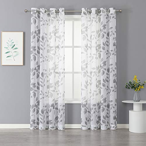 """Haperlare Grey and White Leaf Sheer Curtains for Living Room, 84 Inches Long Grommet Top Farmhouse Floral Leaf Printed Voile Sheer Curtains for Bedroom Window Curtains, 52"""" W x 84"""" L, 2 Panels"""